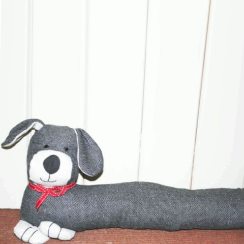 Grey Herringbone Fabric Dog Draught Excluder